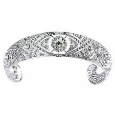 Silver royal meghan markle style tiara crystal diamante bridal prom wedding UK