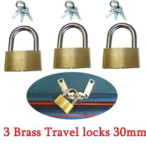 3 pcs Brass Travel Luggage Suitcase Padlock Locks with Keys