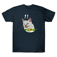Angry women yelling at confused cat at dinner table Men's T-Shirt Short Sleeve