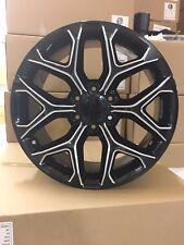 """4 NEW 2015 GMC Sierra Wheels 22x9 Gloss Black & Milled OE 22"""" Silverado Tahoe"""