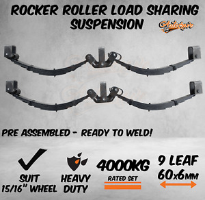 """9 Leaf 4000KG Rocker Roller Tandem Trailer Spring Set Caravan Horse Float 15/16"""""""