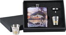 Bass Fish Liquor Ss Flask w/ 2 Shot Glasses, Gift Boxed