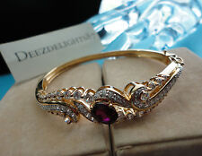 """RUBY RED ABS CZ  BREACELET~ VICTORIA WEICK, VERMEIL YG GOLD HINGE BANGLE, SZ 7"""""""