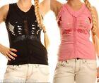 Top Smanicato Canotta Donna T-Shirt SEXY WOMAN Maglietta A739 Tg S M