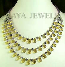 NATURAL CITRINE & AMETHYST BRIOLETTE FACETED NECKLACE STRAND WITH FREE EARRINGS