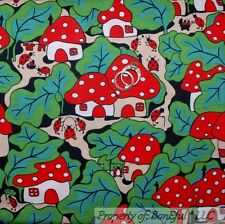 BonEful FABRIC FQ Cotton KNIT VTG S ANT Smurf Mushroom Red White Dot Gnome House