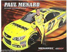 "2013 PAUL MENARD ""PITTSBURGH PAINT"" #27 NASCAR SPRINT CUP SERIES POSTCARD"