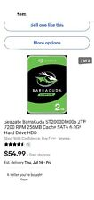 Seagate BarraCuda ST2000DM008 2TB 7200 RPM 256MB Cache SATA 6.0Gb Hard Drive HDD