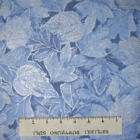 Christmas Fabric - Frost Pale Blue Metallic Leaf - Benartex Kanvas Studio YARD