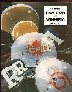 July 9 1970 CFL Football Program Hamilton vs Winnipeg NRMT