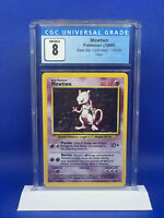 Pokemon WOTC 1999 Base Set Unlimited 10/102 Mewtwo HOLO Rare CGC 8 PSA RDY