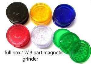 full box 12 x Shark Teeth No1 Herb Plastic 3 PART magnetic Storage Grinders