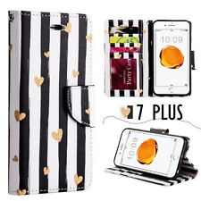 iPhone 7+ PLUS - Gold Hearts Black Stripes Card Holder Wallet Diary Case Cover