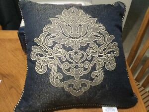 waterford vaughn pillow decorative Size 18x18( Navy/gold )