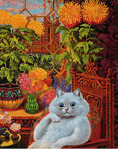 Large Louis Wain Psychedelic Flower Cat Painting Albert Hoffman Canvas Art Print
