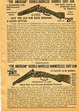 1918 small Print Ad of The American Double-Barrel Hammer & Hammerless Shotgun