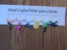"""FLORIDA "" THEMED SET OF 6 HAND CRAFTED WINE GLASS CHARMS"