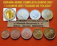 2021 ESPAÑA MONEDAS EURO SC 1+2+5+10+20+50 Cts. 1€ 2€ + 2 EUROS CIUDAD DE TOLEDO