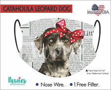 Catahoula Leopard Dog Face Mask, Made in Usa, Dog Face Mask, Filter Incluided.