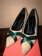 Beige Green Ribbon High Heel Shoes size 39