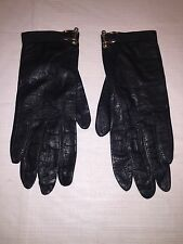 Vintage Saks Fifth Avenue Ladies Leather Gloves Black sz 6 Sm Brass Tack Shackle