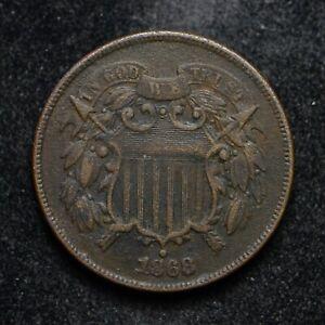 1868 Two Cent Piece Dark (cn7709)