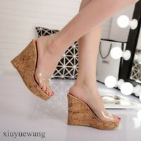 Womens Open toe Clear Transparent High Wedge Heel Slippers Shoes Fashion Sandals