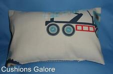 LAURA ASHLEY FABRIC BOY'S BEDROOM TRACTORS & TRUCKS Complete Cushion 15 x 9 inch