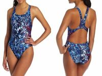 Speedo Womens Splatter Splash Super Pro One-Piece Swimsuit PowerFLEX Navy/Red 26