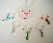 set of 6 wine glass charms 3D high heeled shoes birthday or dinner party gift