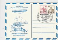 Germany 1980 80 Years Zeppelin Zeppelin over Town Cancel Stamps Card Ref 24008
