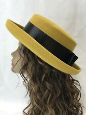 Vtg Women's Hat Fedora Bowler Derby Mustard Yellow Felt Gold Black Ribbon Medium