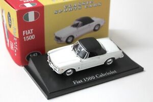 1:43 Atlas By Norev Fiat 1500 Cabriolet white Classic Sport Cars