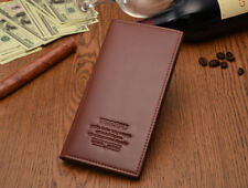 Man's Long Synthetic Leather Wallet Billfold For Cash & Cards HM001 Light Brown