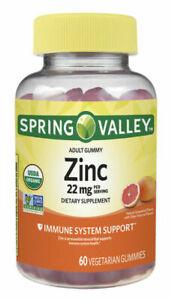Spring Valley Adult Gummy Zinc Chewable Immune Support Grapefruit Flavored