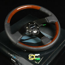 NRG 320MM 6-HOLES BOLTS STEERING WHEEL LEATHER COVER WOOD GRIP BLACK 3 SPOKES