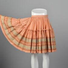 XS Peach Square Dance Skirt 1980s Vintage Circle Skirt Knee Length Metallic Trim