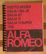 ALFA ROMEO Duetto Spider, Giulia 1300 Jr, GT, TI Super 1750 GTV Shop Manual