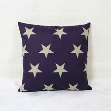 "18""x45cm Five-pointed Star Navy Flax Linen Decor Cushion cover Pillowcase"