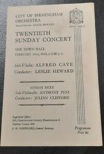 1943 Alfred Cave Violin City Of Birmingham Orchestra Concert Programme Town Hall