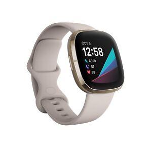 Fitbit Sense Fitness Health Smart Watch Soft Gold  Lunar White Band FB512GLWT