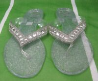 NEW Womens Clear Rhinestone Summer Beach Retro Jellies Jelly Sandal Size 8