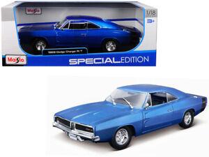 1/18 Maisto 1969 Dodge Charger R/T Diecast Model Car Blue 31387