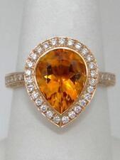 LADIES 18K ROSE GOLD 2 3/4ct PEAR ORANGE CITRINE HALO DIAMOND RING 6 1/2 16mm