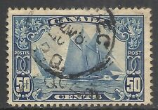 CANADA SCOTT 158 USED F/VF - 1929 50c DK BLUE BLUENOSE ISSUE   CAT $65.00