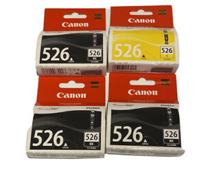 Genuine Canon Pixma Ink Cartridge CLI-526BK  Black X 3 Plus CLI-526Y NEW