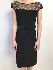 LEONA EDMISTON FROCKS BLACK WITH GOLD HEARTS ON SHEER DETAIL BELTED DRESS 1 (10)