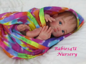 Reborn Baby Girl, Bibi Sculpt by Elly Knoops, Glass Eyes, Premium Rooted Mohair