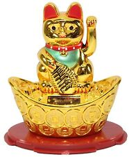Gold Beckoning Fortune Cat Japanese Oriental Solar Toy Home Decor US Seller