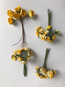45 small yellow paper and wire flowers crafting